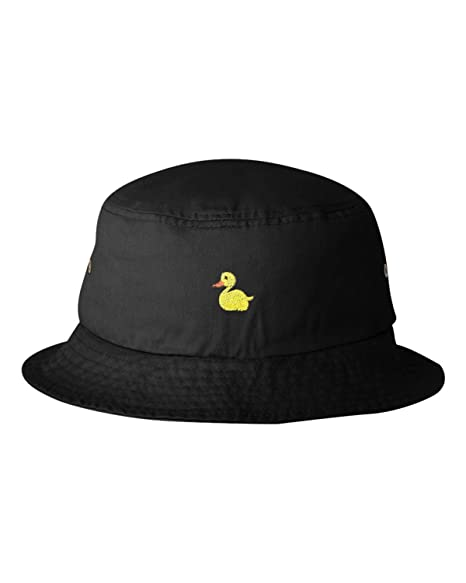 7256465ffb4 Amazon.com  One Size Black Adult Yellow Duck Embroidered Bucket Cap ...