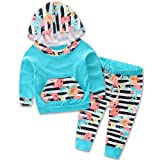 Baby Girls Sweatshirt Sets Floral Hoodie Tops Pants