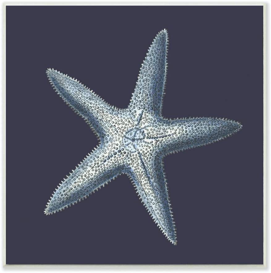 Stupell Home Décor Distressed Navy and White Starfish Wall Plaque Art, 12 x 0.5 x 12, Proudly Made in USA