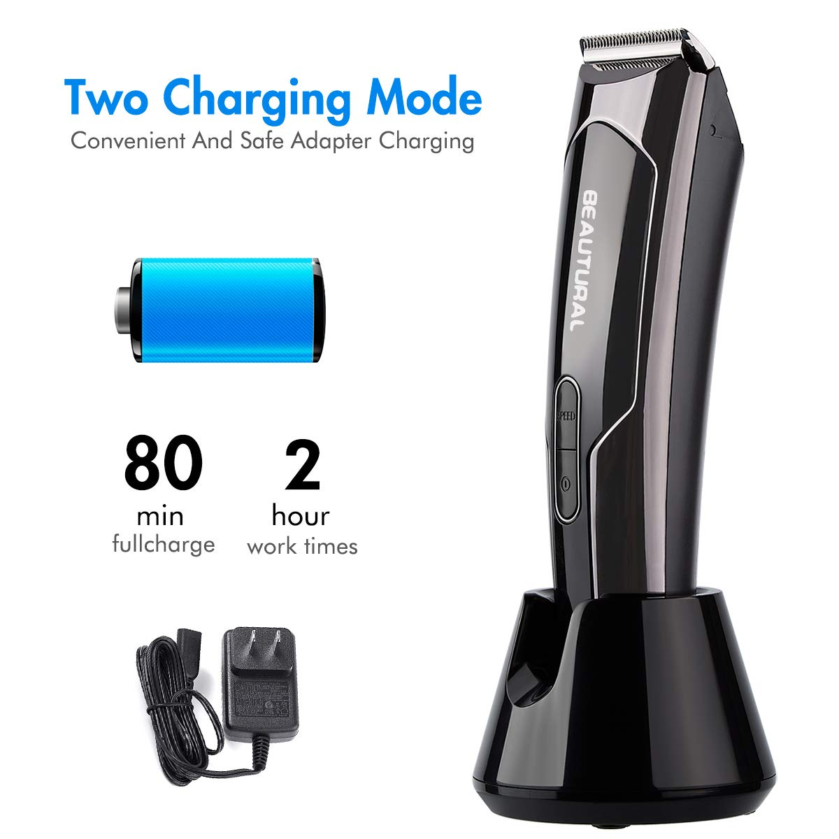 Beautural Professional Cordless Hair Clippers, Heavy Duty Rechargeable Hair Trimmer and Hair Cutting Kit with Charging Base, 6 Guide Combs, and Comb by Beautural (Image #6)
