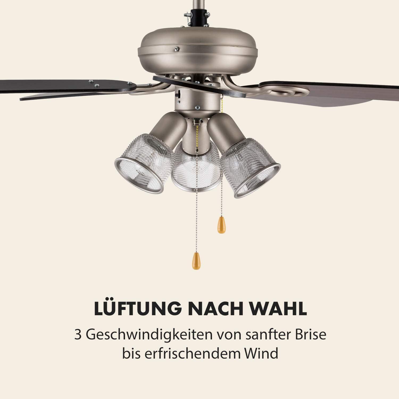 DESIGN FLÜGEL DECKEN VENTILATOR WIND MASCHINE LAMPE RAUM LÜFTUNG BELEUCHTUNG 60W