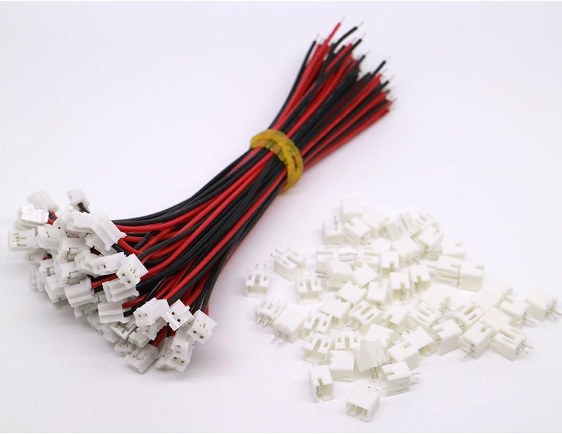 20 St/ück Micro JST PH 2.0 2-Pin Stecker und 20 St/ück 10 cm Rot und Schwarz Silikon Kabel Draht mit Buchse