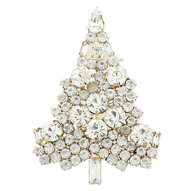 Vintage Style Jewelry, Retro Jewelry EVER FAITH Art Deco Wishing Tree Brooch Austrian Crystal Gold-Tone $13.90 AT vintagedancer.com