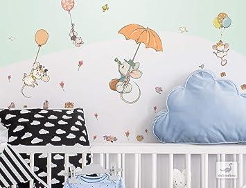 Wandtattoo Pastell Maus Familie Wanddeko Set