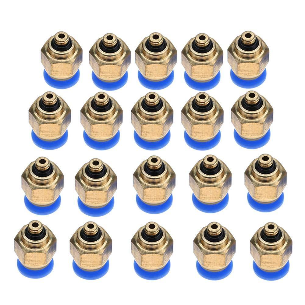 PC4-M5 20pc Raccordi rapidi pneumatici per tubi pneumatici da 4 mm Filettatura maschio Spingere dritto per raccordi a innesto rapido nel connettore Set di raccordi rapidi