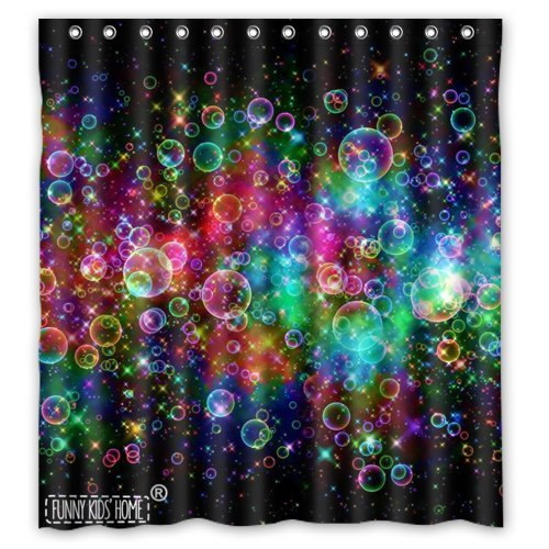 FUNNY KIDS HOME Colorful Bubbles Beautiful Rainbow Abstract- Personalize Custom Bathroom Shower Curtain Waterproof Polyester Fabric 66(w) x72(h) Rings Included