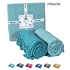 """HILLFAIR 100% Soft Cotton Chevron Throw Blankets (Set of 2)– Sofa Couch Quilt Throws–, Sofa Couch Blanket, 50""""x60"""" Throw Pillows, Throw Blankets-By from HILLFAIR"""