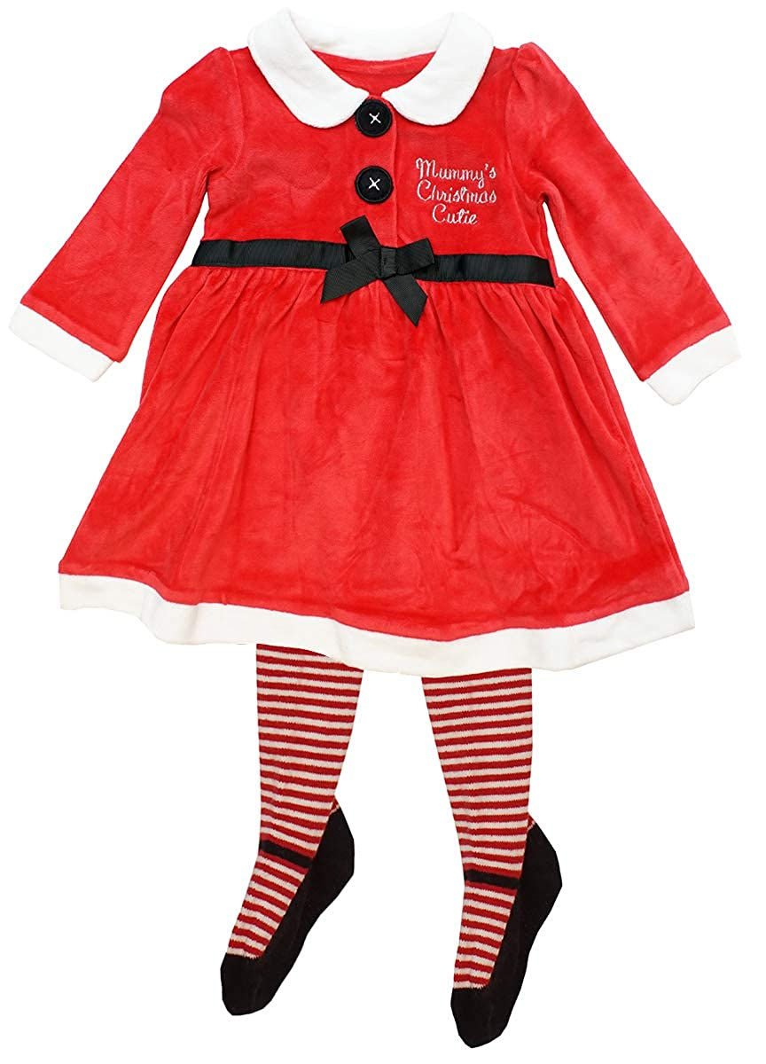 Get Wivvit Baby Girls Mummy's Cutie Velour Xmas Santa Dress & Tights Outfit Sizes from Newborn to 24 Months