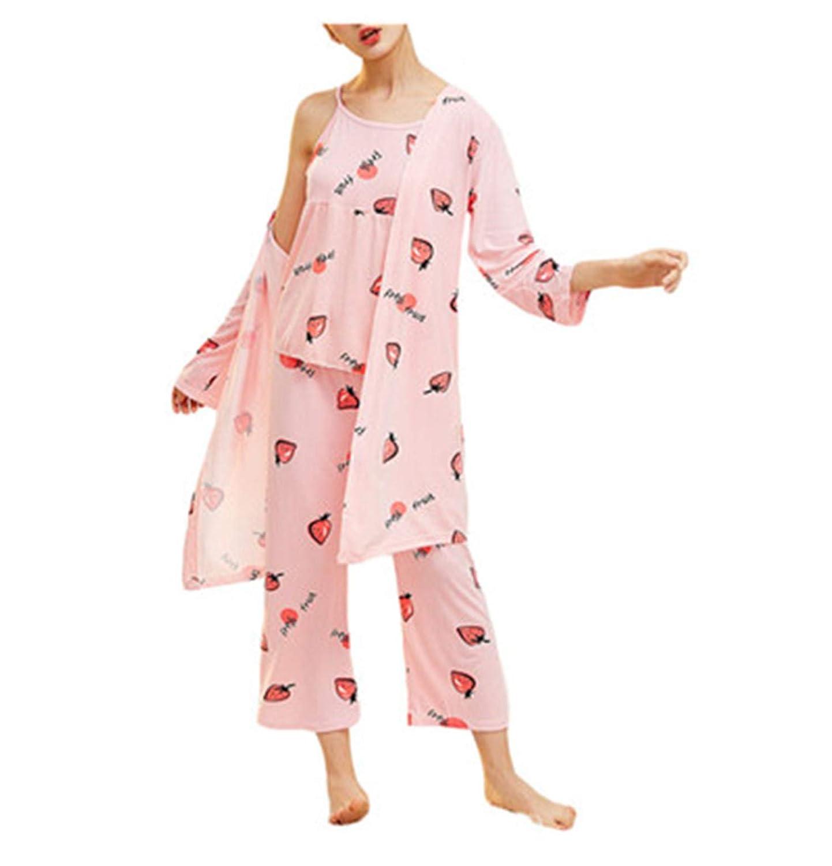 aba3e24a3 Strawberry Print Pinstriped Cami Pajama Sets Spring Spaghetti Strap ...