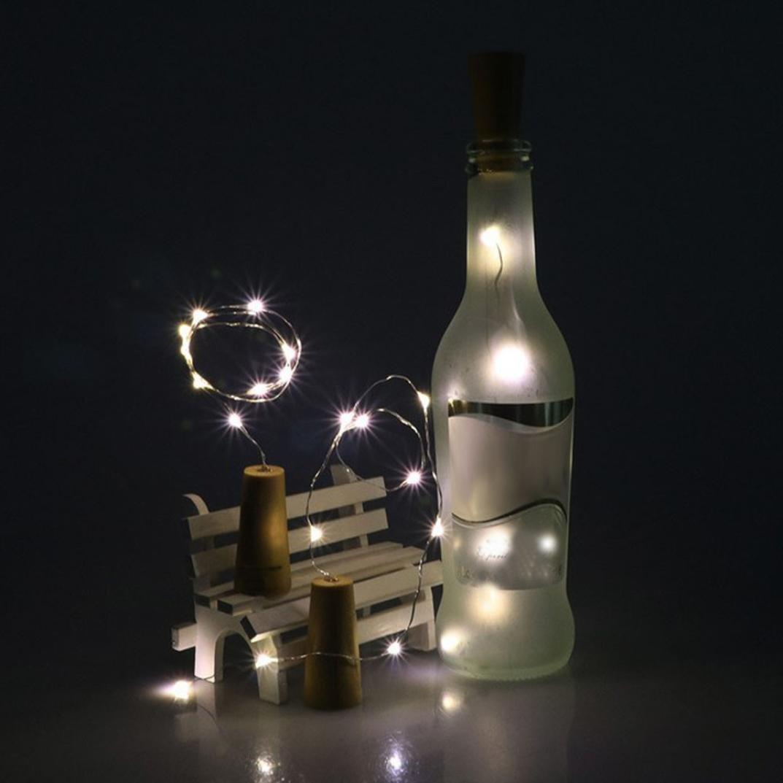 YJM Mini Waterproof 10 LED Solar Wine Bottle Cork Shaped String Light Xmas Cool White