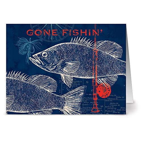 Gone Fishin Marine (24 Note Cards - Pier 45 Gone Fishin' - Blank Cards - Red Envelopes Included)