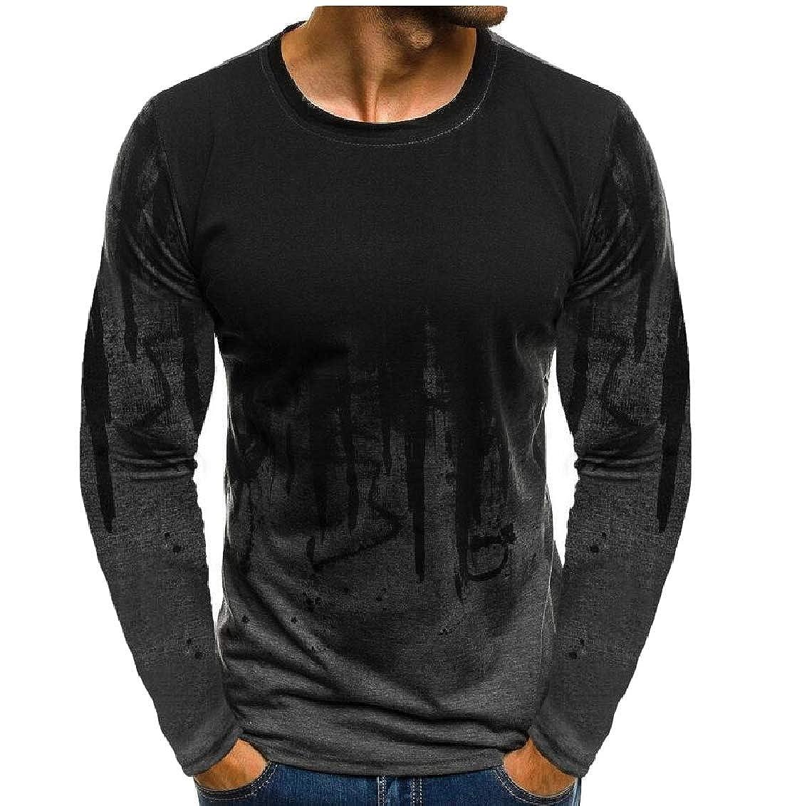 Hajotrawa Mens Workout Print Long-Sleeve Camo Top Sport T-Shirt