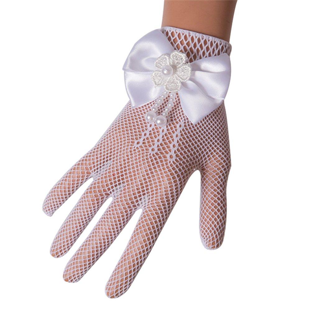 Castle Fairy Girls Lace Faux Pearl Fishnet Gloves Communion Flower Girl Bride Party Ceremony Accessories </p>