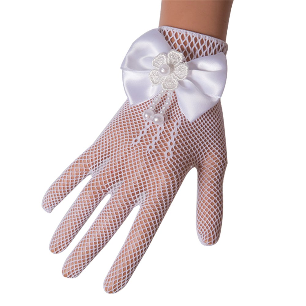 Castle Fairy Girls Lace Faux Pearl Fishnet Gloves Communion Flower Girl Bride Party Ceremony Accessories White