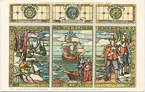Historic Pictoric Postcard Print - Landing of the Pilgrims - Stained Glass Windows in Pilgrim Hall, 1898 - Vintage Fine Art