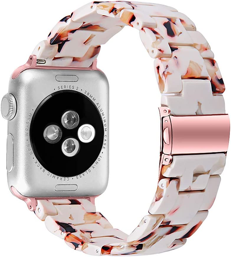 MEFEO Compatible with Apple Watch Band 38mm 40mm 42mm 44mm, Stylish Resin Bands Bracelet Replacement for iWatch Series 6 Series 5/4/3/2/1 & iWatch SE Women Men (Nougat White, 38mm/40mm)