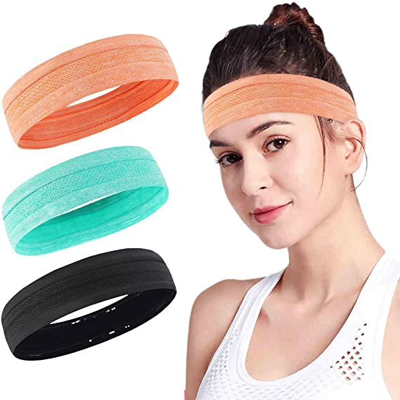 Headbands For Women Men Hair Outdoor Sport Workout Striped Turban Yoga Bands Sweat Wicking Scarf Bandana Wrap Fitness Fashion Non Slip Elastic Knotted ...