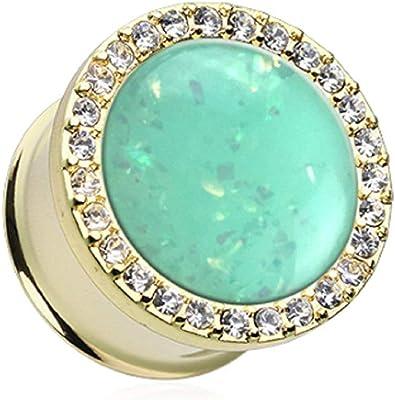 Covet Jewelry - Dilatador para Oreja (ópalo de Menta), Color ...
