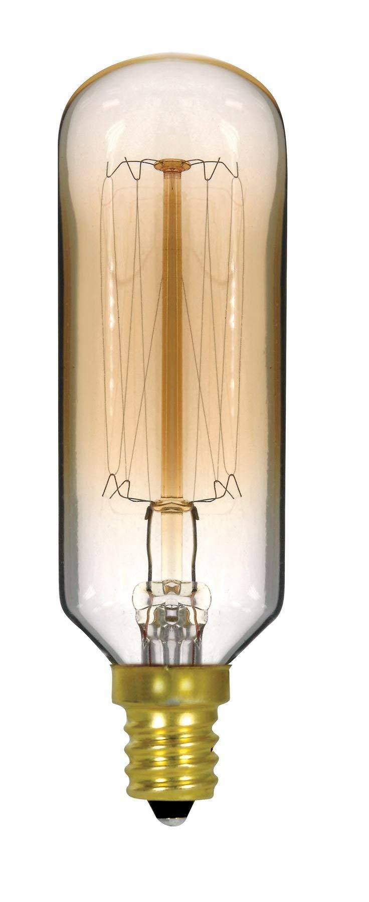 Satco 40T9/GOLD/9S/E12/120V /Vintage Incandescent Vintage Light, 40W E12 T9, Clear Gold Bulb [Pack of 12]