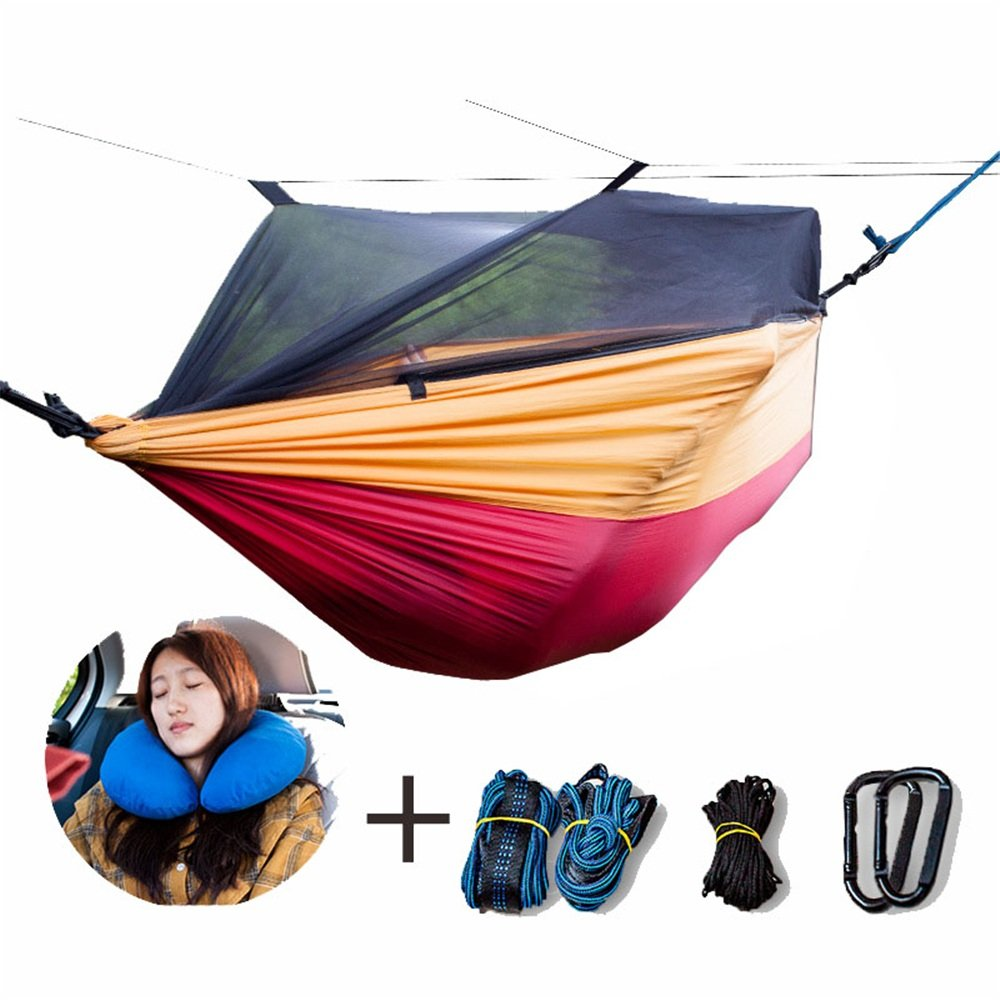 Single & Double Camping Hammock With Mosquito/Bug Net Hammock Tree Straps & Carabiners Easy Assembly Portable Parachute Nylon Hammock For Camping, Backpacking, Survival, Travel & More with Space-Savin by Zxcvlina (Image #1)