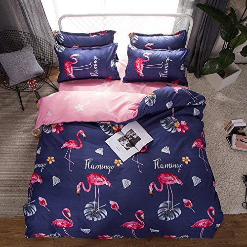 "Discount KFZ Bed SET Children Bedding Duvet Cover Love Flamingos Dandelion Ginkgo leaf Design Flat Sheet Pillowcase No Comforter FD Twin Full Queen King Sheets Set (Love FlamingosPurple, King, 86""x95"") hot sale"