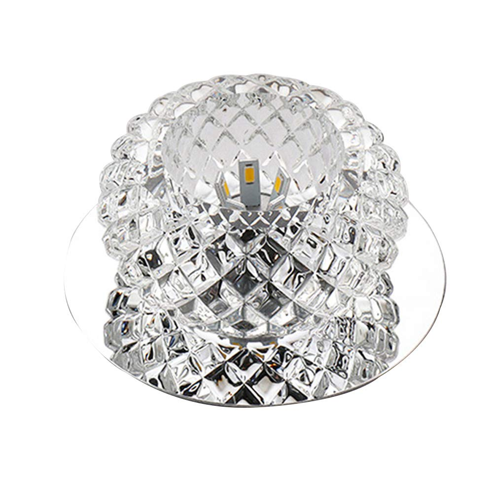OSALADI Modern Simplicity LED Crystal Round Corridor Light Embedded Ceiling Light 110-220V 5W Chandelier Porch Aisle Light (Colorful Light)