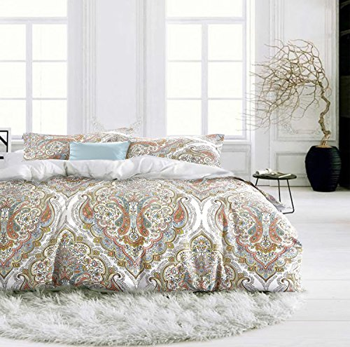 Boho Chic Paisley Scroll Duvet Quilt Cover Bohemian Damask Medallion Print Bedding Set 100% Cotton Elegant Moroccan Tapestry Style Design (King, Peach) (Salmon Peach)