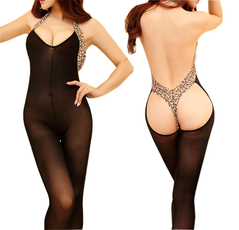 Amazon.com: AnVei-Nao Womens Sexy Lingerie Body Halter Leopard ...