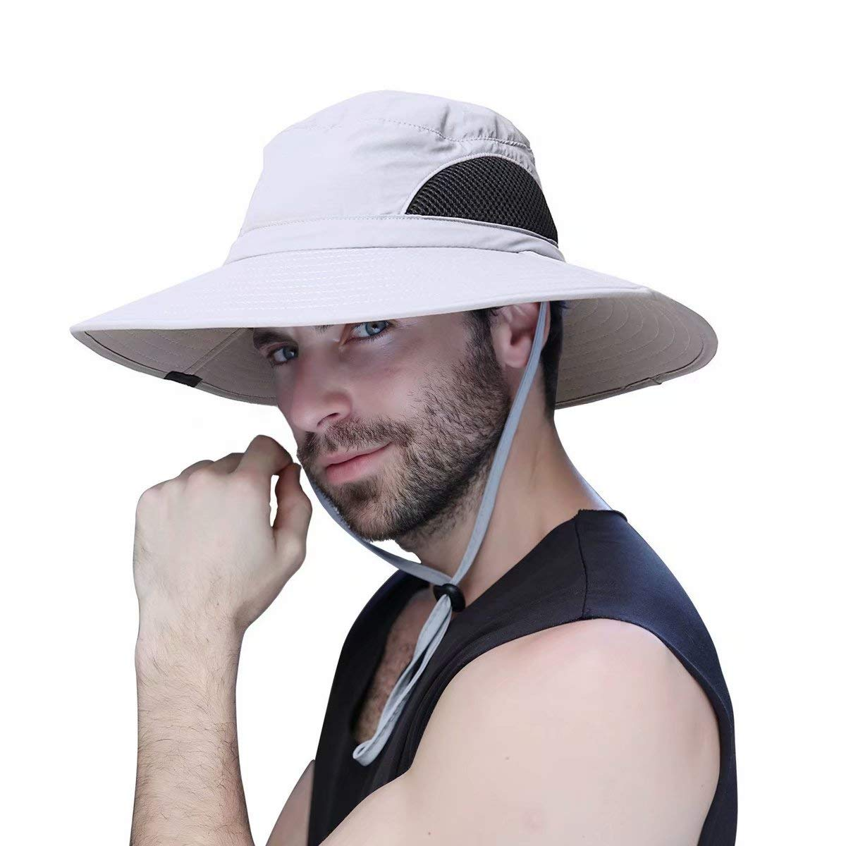 Sombrero Hombre Verano Pescar Excursionismo Pescador de ala Ancha Plegable y Impermeable para el Sol Sombrero de ala Ancha UPF 50+ Anglerhüte