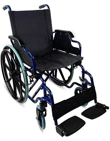 Silla de ruedas plegable | autopropulsable | reposabrazos abatibles | azul | Ancho 43 y 46