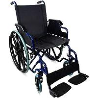Transportrollstuhl aus Stahl | Breite 46cm | schwarz/blau | zusammenklappbar | Marke mobiclinic
