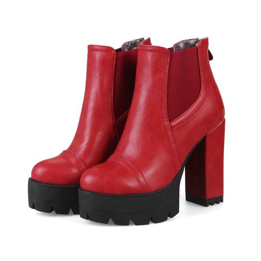 FCXBQ FCXBQ FCXBQ Martin-Stiefel Mit Hohem Absatz, Wasserdichte Plattform Mit Dicken Stiefeletten, Spitze RüCkenreißVerschluss, Kurze Stiefel, Rutschfeste, Warme, Elastische GrößE 88bd08