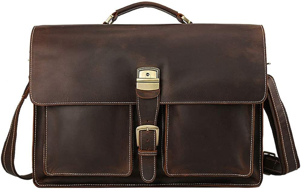 Color : Dark Brown, Size : 45x32x13cm XUROM Briefcase Bag 17 Inch Laptop Bag Top Layer Crazy Horse Leather Shoulder Messenger Bag with Strap Oversized Mens Leather Casual Briefcase