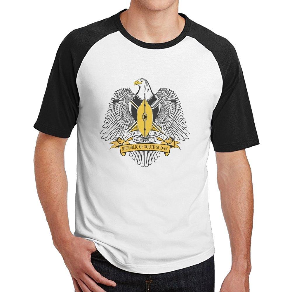 Coat of Arms of South Sudan Mens Hip Hop Cotton 3D Print Short Sleeve T-Shirts