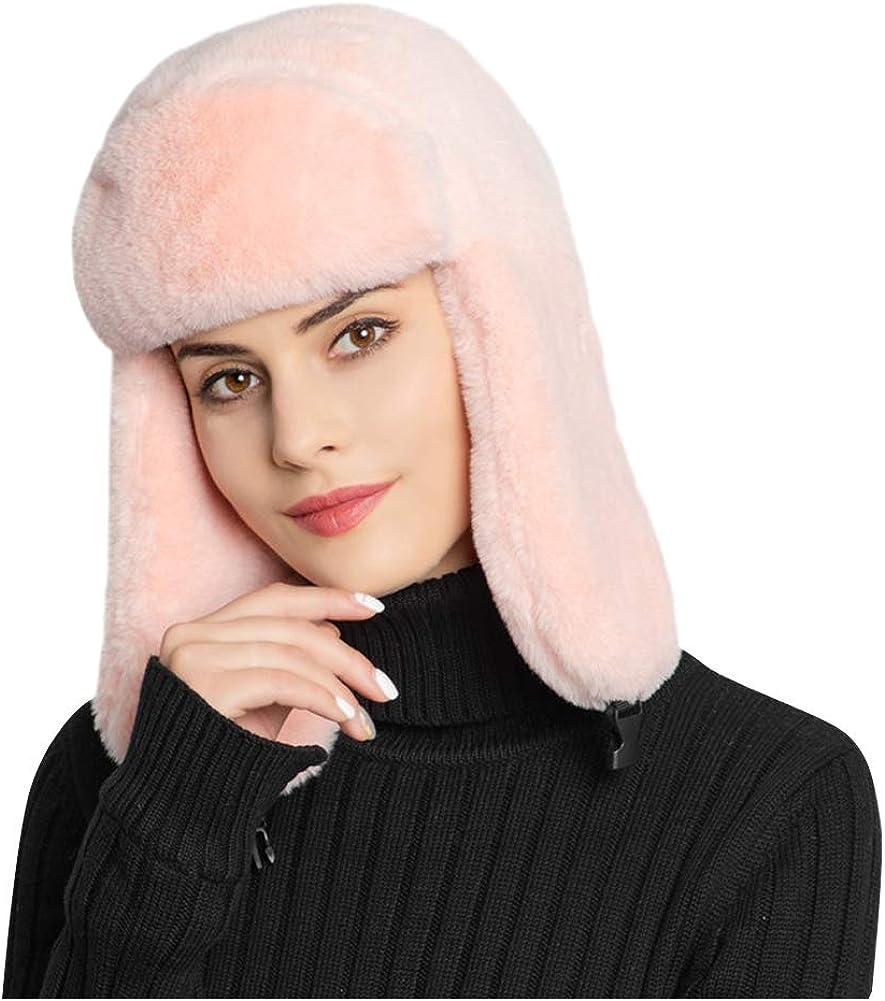 Landove Cappello Pelliccia Sintetica Rotondo Cappellini Invernali Donna Elegante Comodo Moda Russia Cappello Cosacco di Ecopelliccia Caldo Berretto PON PON Regalo di Natale Compleanno