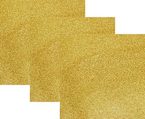 10x12(1 Foot)3-Sheets,Siser Glitter Iron-on Heat Transfer Vinyl HTV for T-Shirts( Gold )