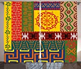 Cheap Ambesonne Primitive Curtains, Abstract Ethnic Patterns Ornaments Indigenous Style Tribal Symbols Illustration, Living Room Bedroom Window Drapes 2 Panel Set, 108 W X 90 L Inches, Yellow Green
