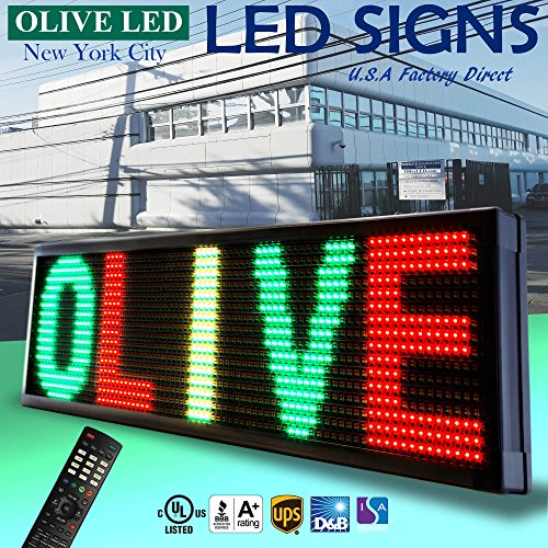 OLIVE LED Sign 3Color RGY, P30, 22''x60'' IR Programmable Scrolling Outdoor Message Display Signs EMC - Industrial Grade Business Ad machine. by OLIVE LED Lighting, Inc