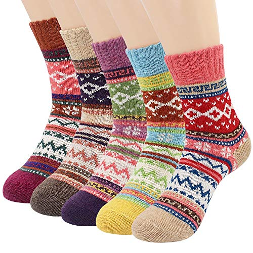 Womens Wool Fuzzy Socks, Menlea Womens cashmere Novelty Cozy Warm Thick Winter Vintage Christmas Crew Socks for Women 5 Pairs