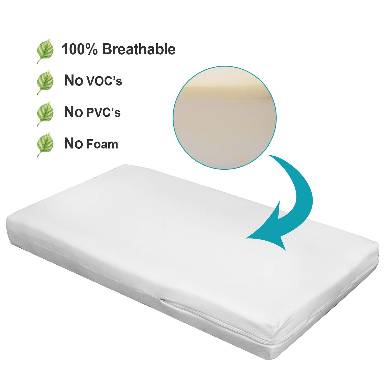 Water Repellent 100/% Breathable Wonder Dream Dual Comfort Crib Mattress and Toddler Mattress No VOCs Made in USA Non Toxic