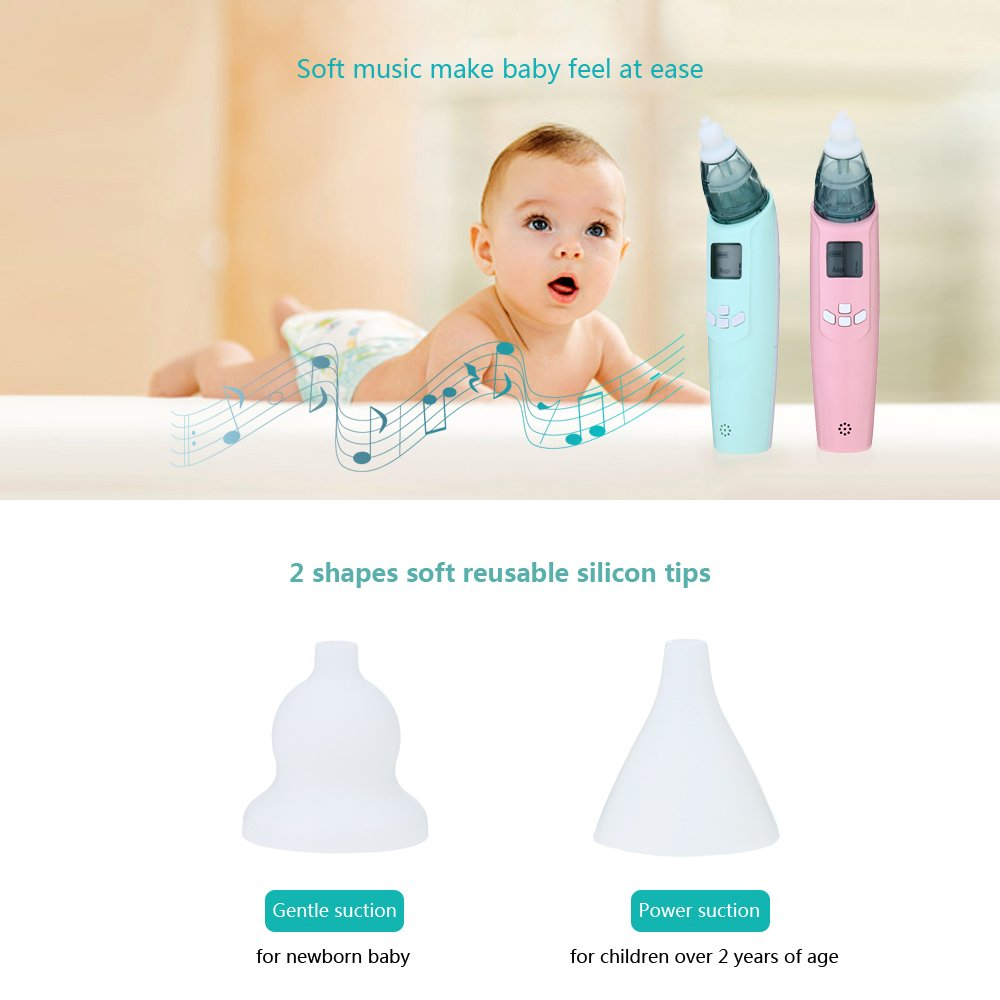 ZTXY Baby Electric Nasal Aspirator Music Light Nose Cleaner stuffy Nose Dredge Tools 3 Adjustable Suction Level Safety Reliable for Newborns and Toddlers by ZTXY