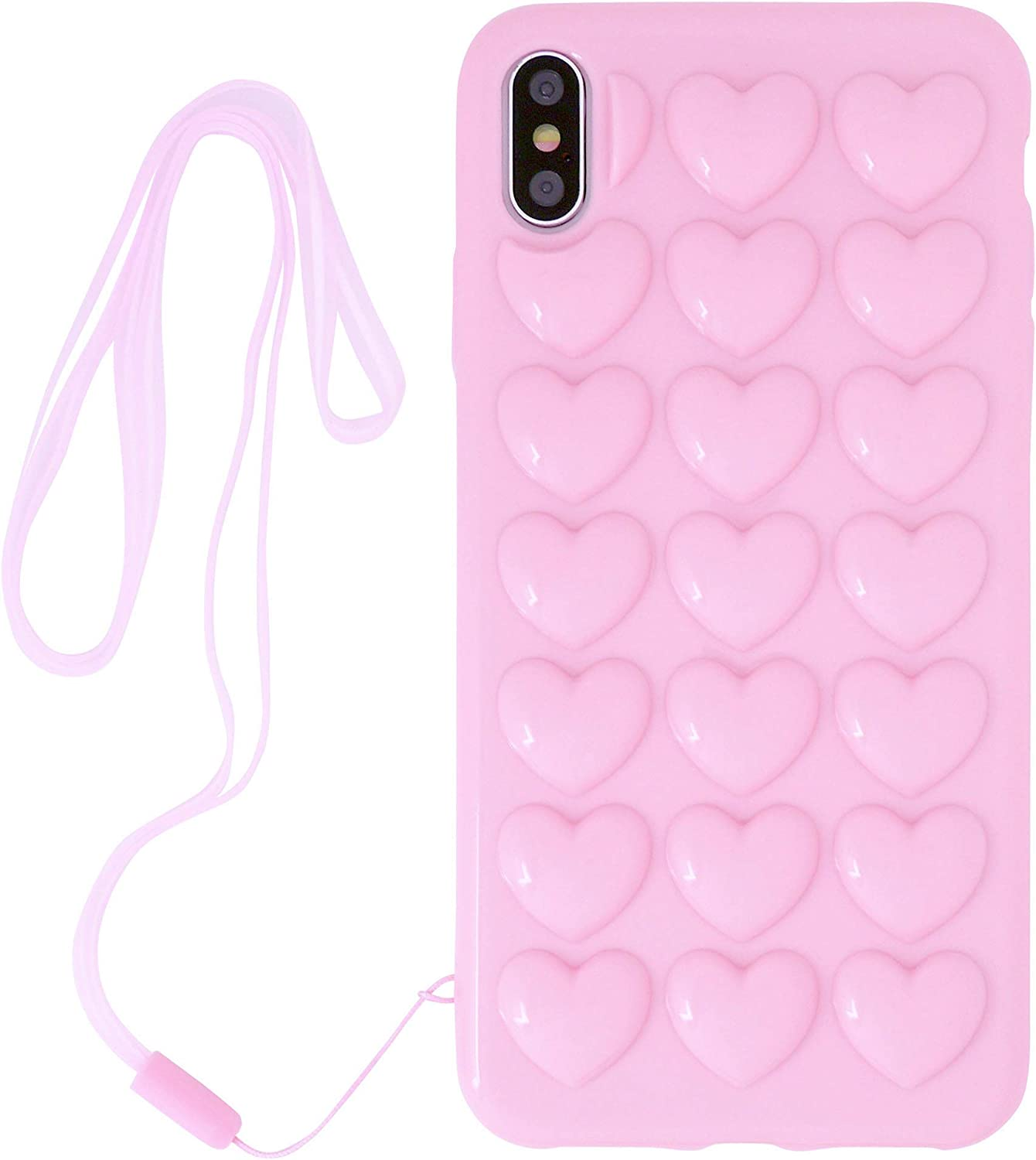 iPhone 6 Plus/iPhone 6s Plus Case for Women, DMaos 3D Pop Bubble Heart Kawaii Cover with Lanyard Wrist Strap, Cute Girly for iPhone 6+ 6s+ 5.5 inch - Pink