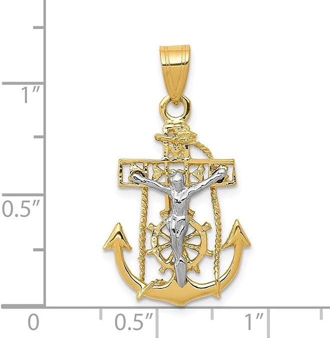 14K Two-tone Gold with Rhodium Polished Mariners Crucifix Pendant