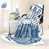 vanfan Warm Microfiber All Season Blanket Mahal in India on White Background Emblem Like Hand Drawn Ink Illustration Blue,Silky Soft,Anti-Static,2 Ply Thick Blanket. (62''x60'')