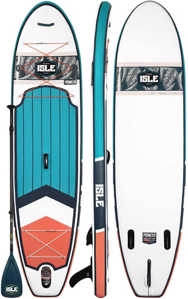 ISLE 10 6 Pioneer Inflatable Stand Up Paddle Board 6 Thick iSUP and Bundle Accessory Pack Durable and Lightweight Stable Wide Stance Up to 240 lbs Capacity