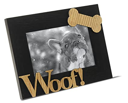 Amazon.com - Isaac Jacobs Black Wood Sentiments Dog Woof! Picture ...