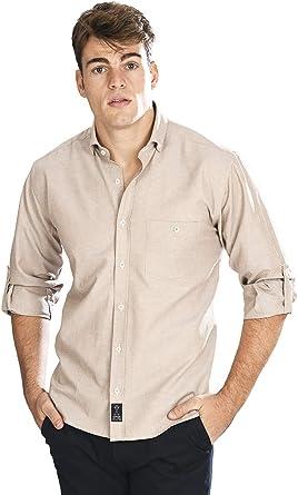 Camisa Oxford Manga Larga de Hombre en Beige: Amazon.es: Ropa y accesorios