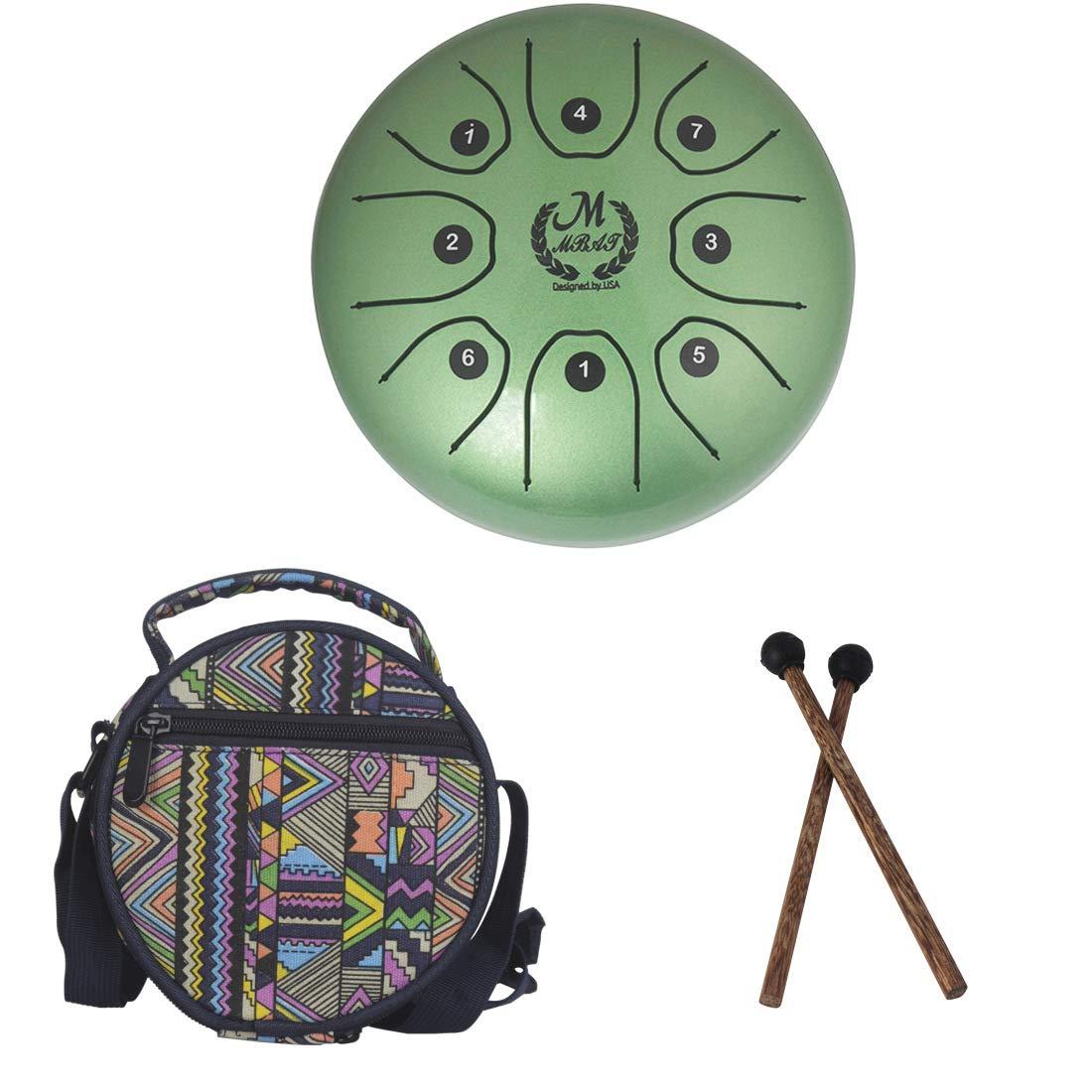 Tambour acier 5,5 pouces mini 8 tons T-C Instrument de percussion à percussion Main tambour avec baguettes de tambour Sac de transport Facile à jouer, instrument de musique, musicothérapie,Green