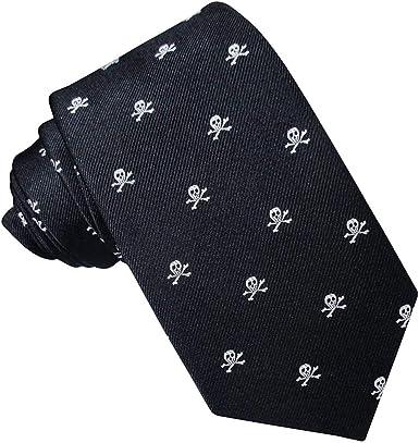 Corbata Seda Negra Calaveras Blancas: Amazon.es: Ropa y accesorios