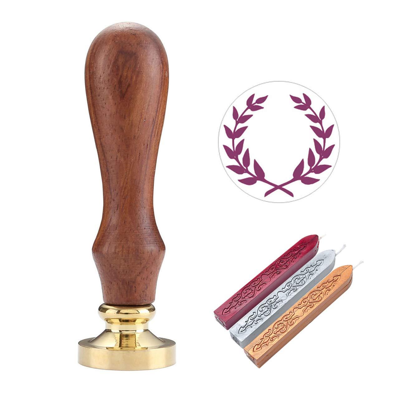Mogoko 1 Sigillo di legno 3 Ceralacca SET Francobolli Vintage Kit per Lettera Personalizzata Timbri decorativo IL MIGLIORE REGALO SET-Thank You 3#